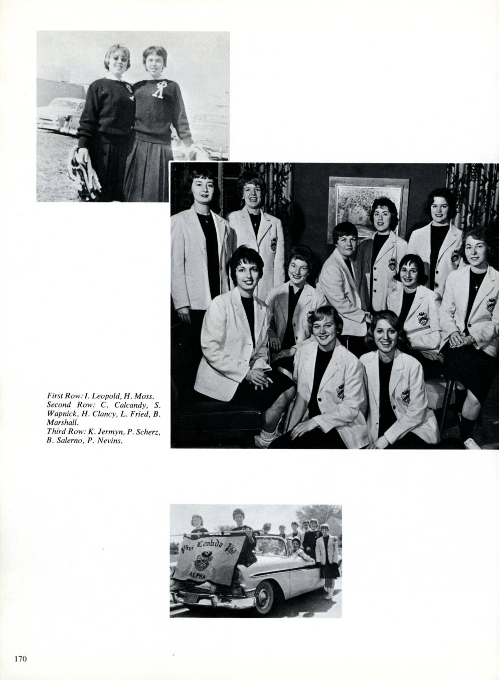 Sisters of Phi Lambda Phi 1960 at the Phi Lamb house. Excerpt SUNY Oswego Yearbook Page 2.